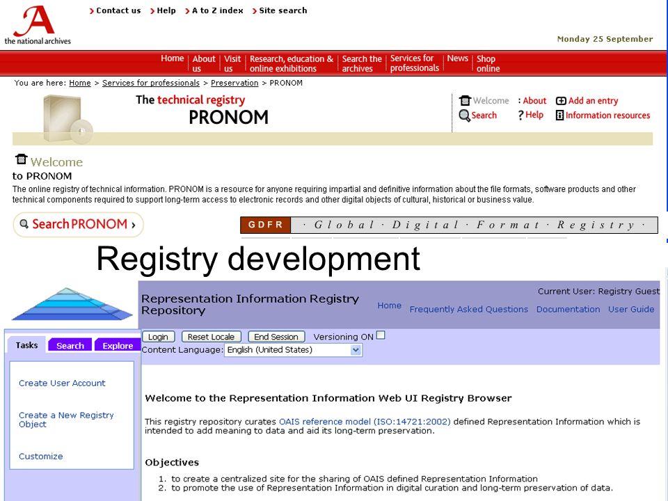 Registry development