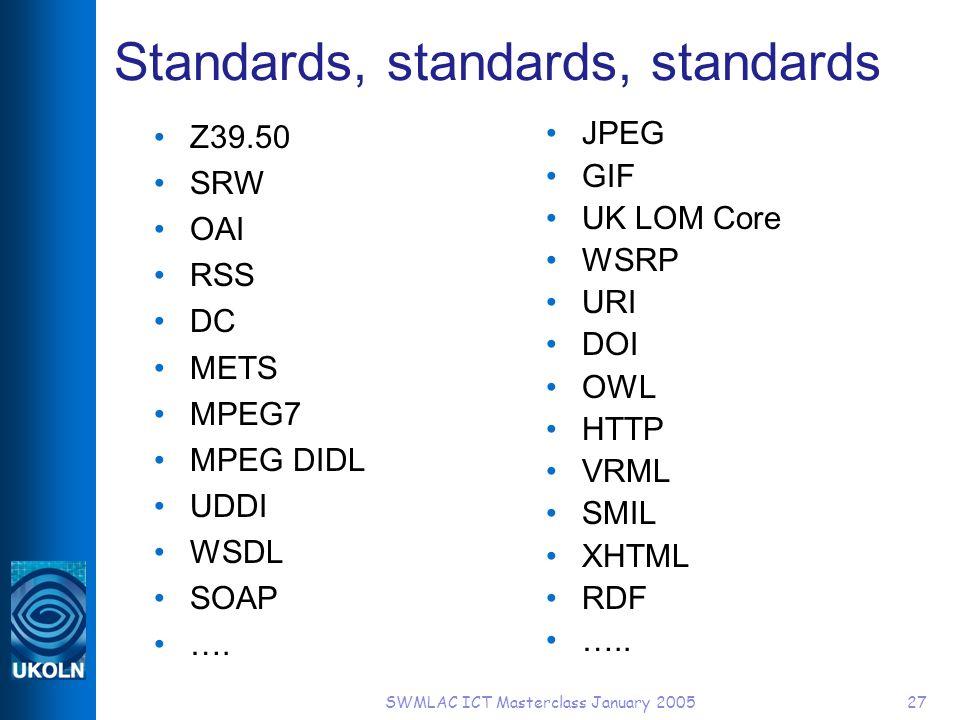 SWMLAC ICT Masterclass January 200527 Standards, standards, standards Z39.50 SRW OAI RSS DC METS MPEG7 MPEG DIDL UDDI WSDL SOAP ….