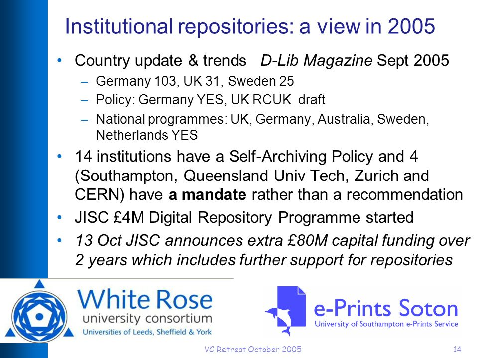 VC Retreat October 200514 Institutional repositories: a view in 2005 Country update & trends D-Lib Magazine Sept 2005 –Germany 103, UK 31, Sweden 25 –