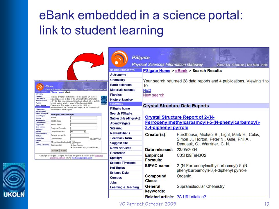 VC Retreat October 200519 eBank embedded in a science portal: link to student learning