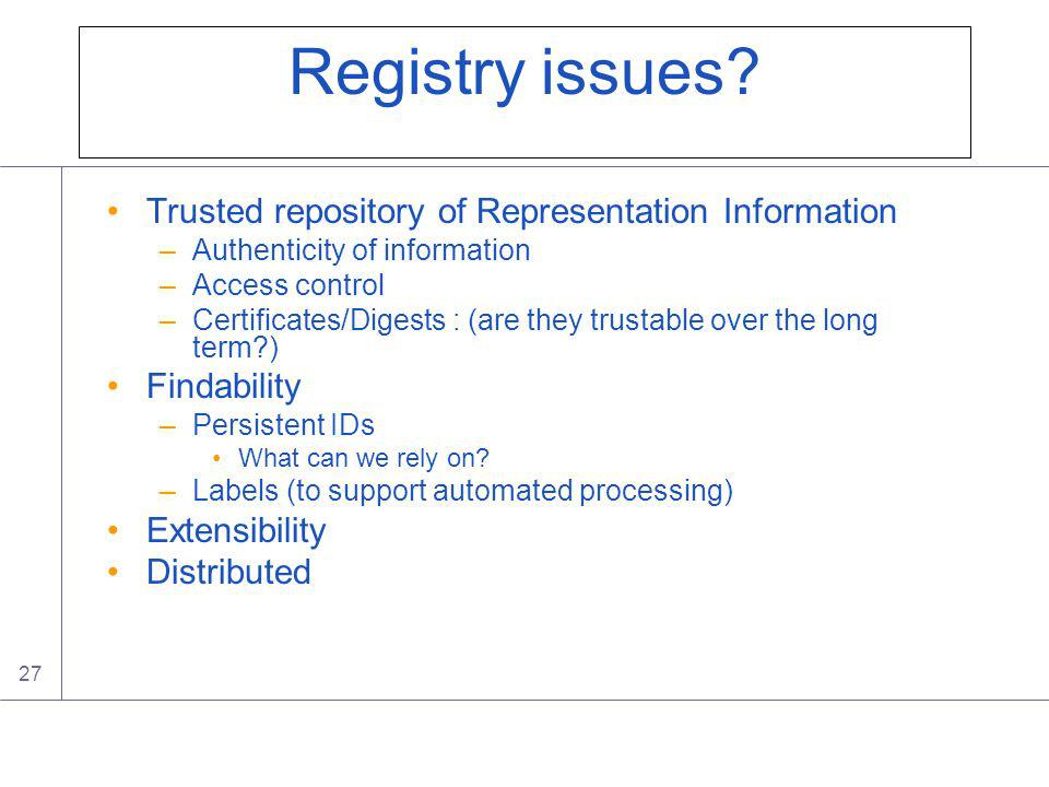27 Registry issues.