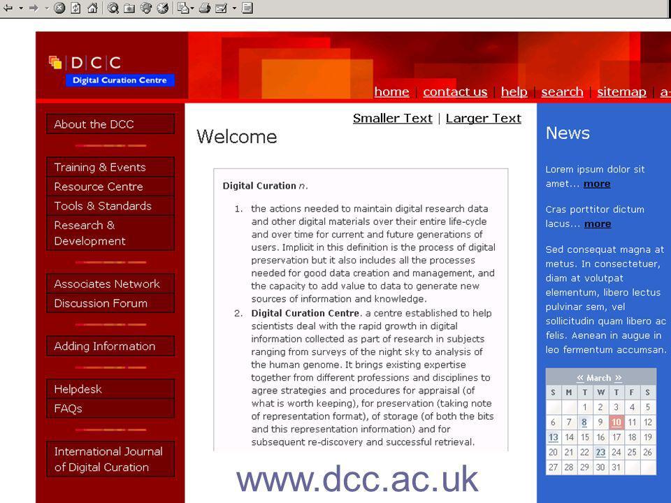 37 www.dcc.ac.uk