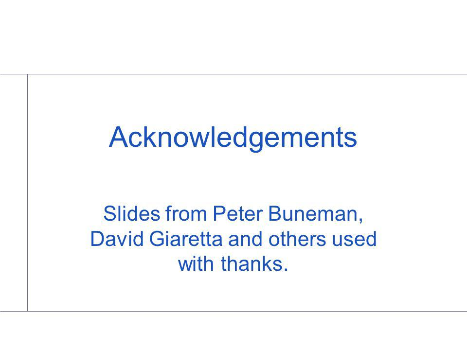 Acknowledgements Slides from Peter Buneman, David Giaretta and others used with thanks.