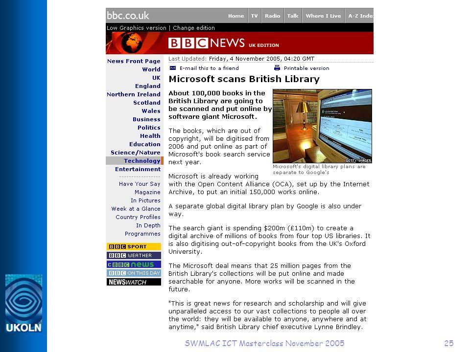 SWMLAC ICT Masterclass November 200525