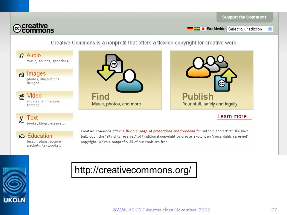 SWMLAC ICT Masterclass November 200527 http://creativecommons.org/