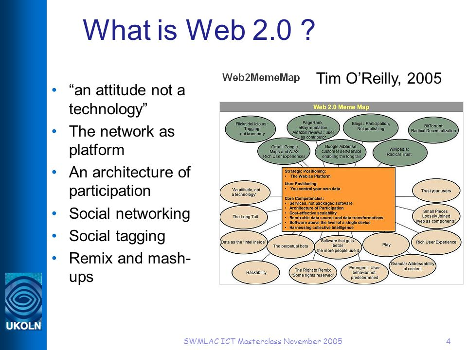 SWMLAC ICT Masterclass November 20054 What is Web 2.0 ? an attitude not a technology The network as platform An architecture of participation Social n
