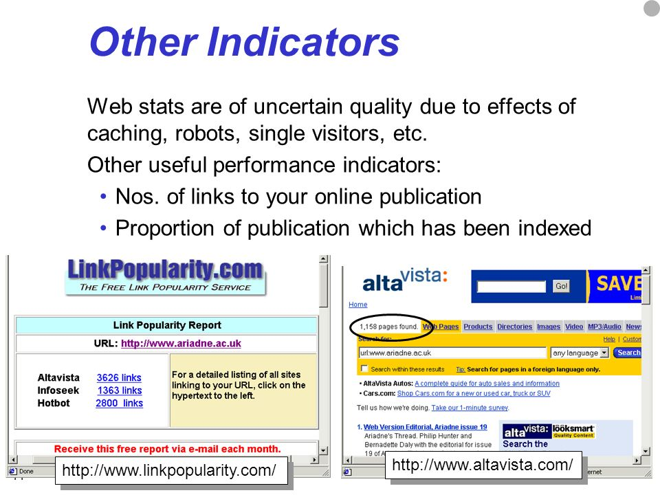 11 Other Indicators Web stats are of uncertain quality due to effects of caching, robots, single visitors, etc.