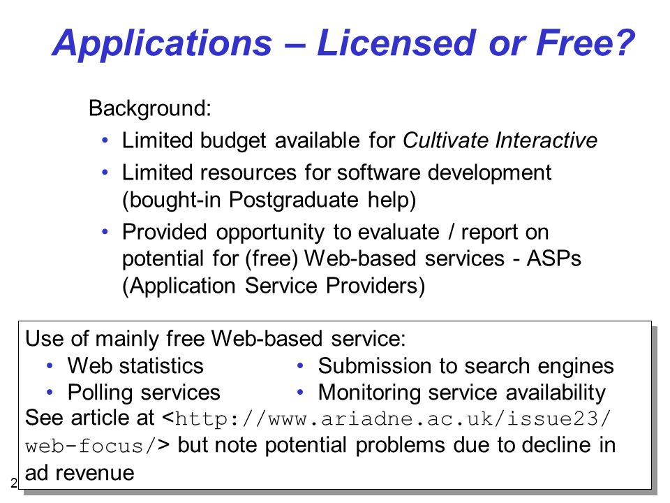21 Applications – Licensed or Free? Background: Limited budget available for Cultivate Interactive Limited resources for software development (bought-