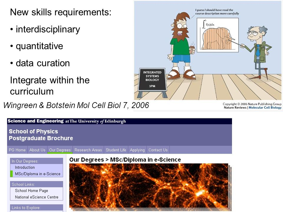 New skills requirements: interdisciplinary quantitative data curation Integrate within the curriculum Wingreen & Botstein Mol Cell Biol 7, 2006