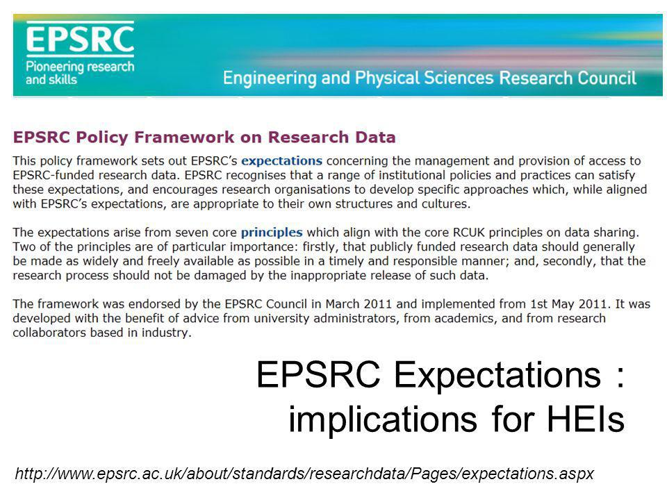 http://www.epsrc.ac.uk/about/standards/researchdata/Pages/expectations.aspx EPSRC Expectations : implications for HEIs