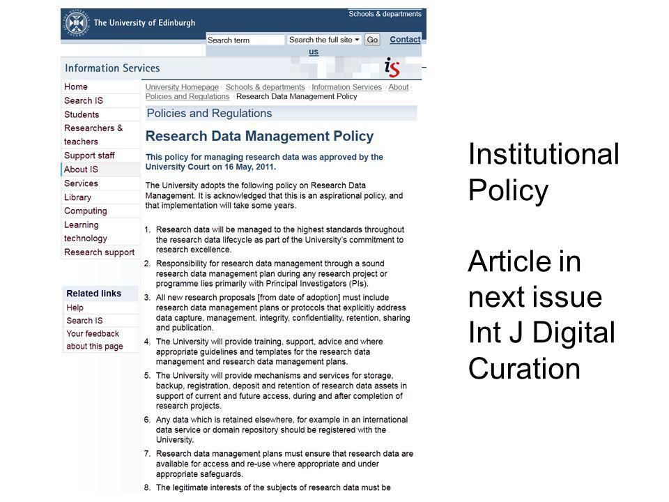 Institutional Policy Article in next issue Int J Digital Curation