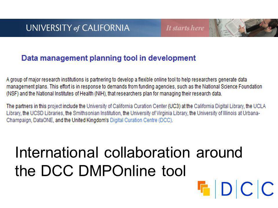 International collaboration around the DCC DMPOnline tool
