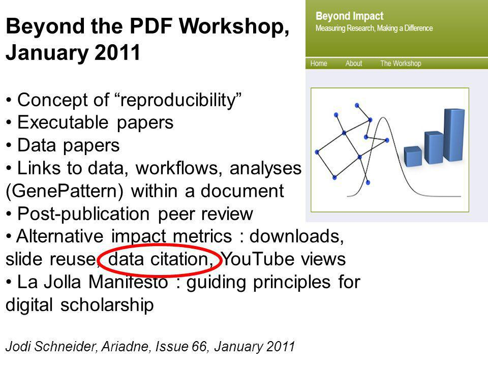 Beyond the PDF Workshop, January 2011 Concept of reproducibility Executable papers Data papers Links to data, workflows, analyses (GenePattern) within