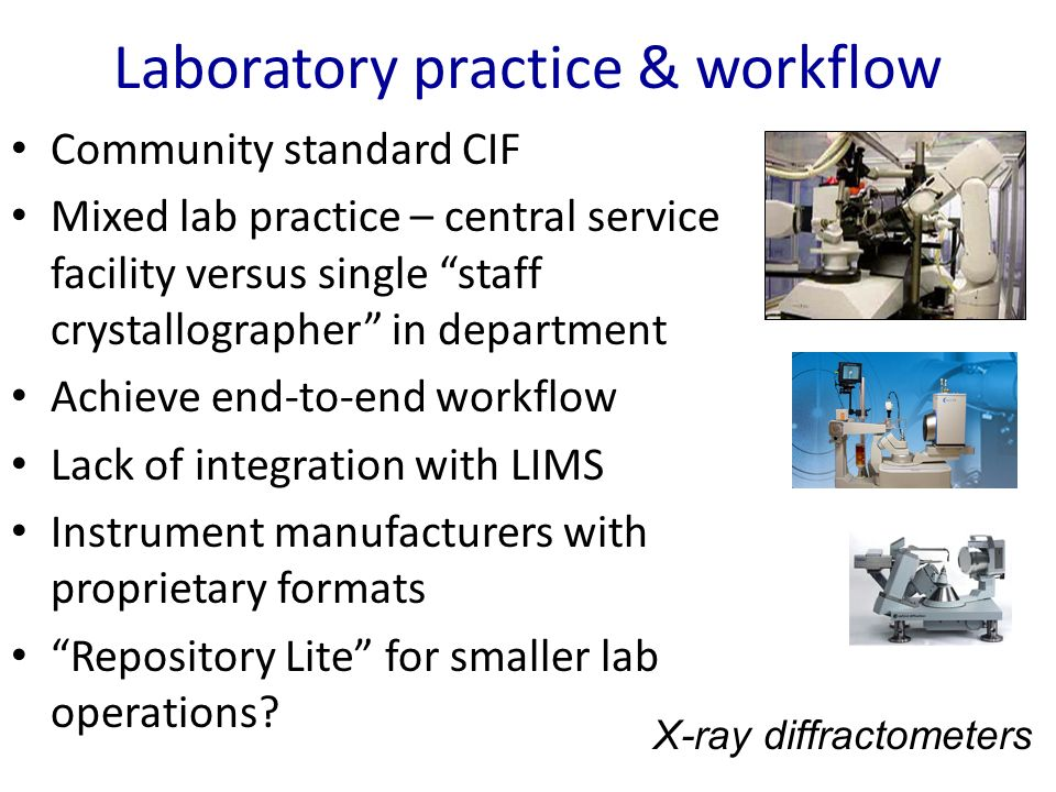 Laboratory practice & workflow Community standard CIF Mixed lab practice – central service facility versus single staff crystallographer in department Achieve end-to-end workflow Lack of integration with LIMS Instrument manufacturers with proprietary formats Repository Lite for smaller lab operations.