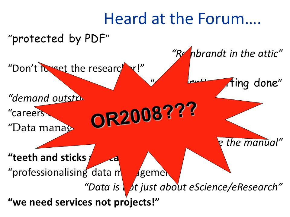 Heard at the Forum…. protected by PDF Rembrandt in the attic Dont forget the researcher.