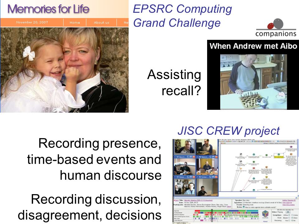 Assisting recall? EPSRC Computing Grand Challenge JISC CREW project Recording presence, time-based events and human discourse Recording discussion, di