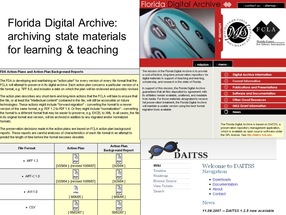 Florida Digital Archive: archiving state materials for learning & teaching