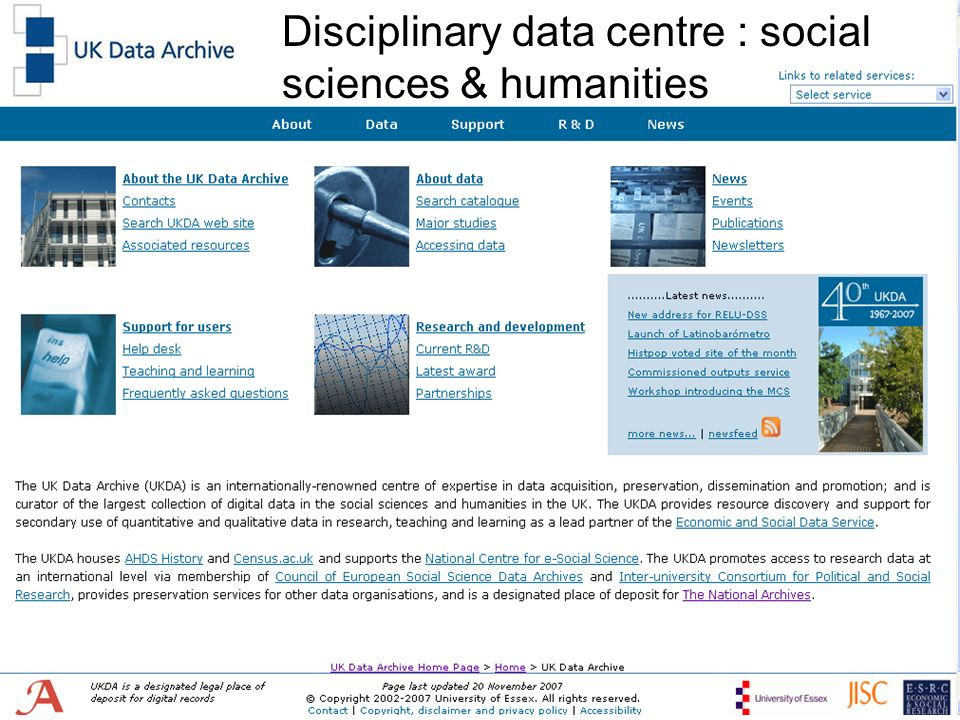 Disciplinary data centre : social sciences & humanities