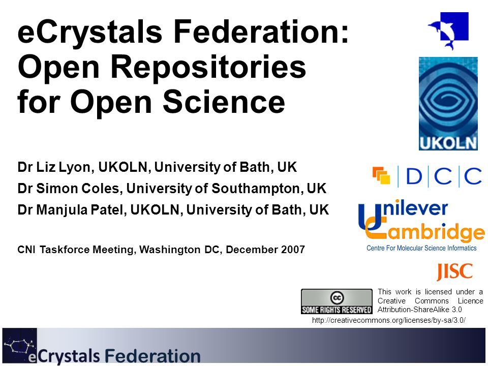 Federation eCrystals Federation: Open Repositories for Open Science Dr Liz Lyon, UKOLN, University of Bath, UK Dr Simon Coles, University of Southampt