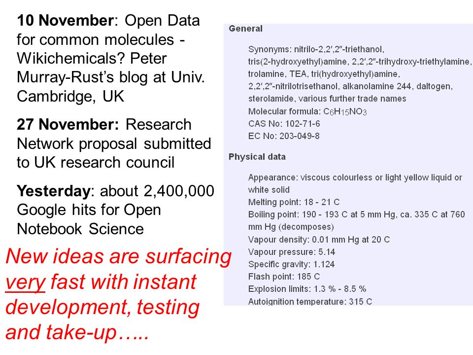 10 November: Open Data for common molecules - Wikichemicals.