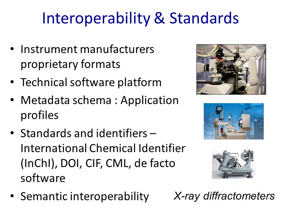 Interoperability & Standards Instrument manufacturers proprietary formats Technical software platform Metadata schema : Application profiles Standards