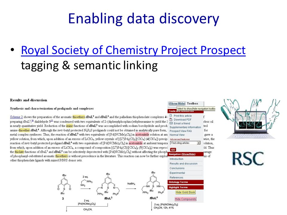 Enabling data discovery Royal Society of Chemistry Project Prospect tagging & semantic linking Royal Society of Chemistry Project Prospect