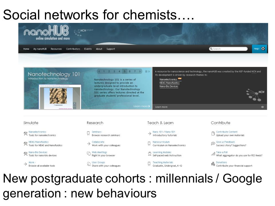 Social networks for chemists…. New postgraduate cohorts : millennials / Google generation : new behaviours