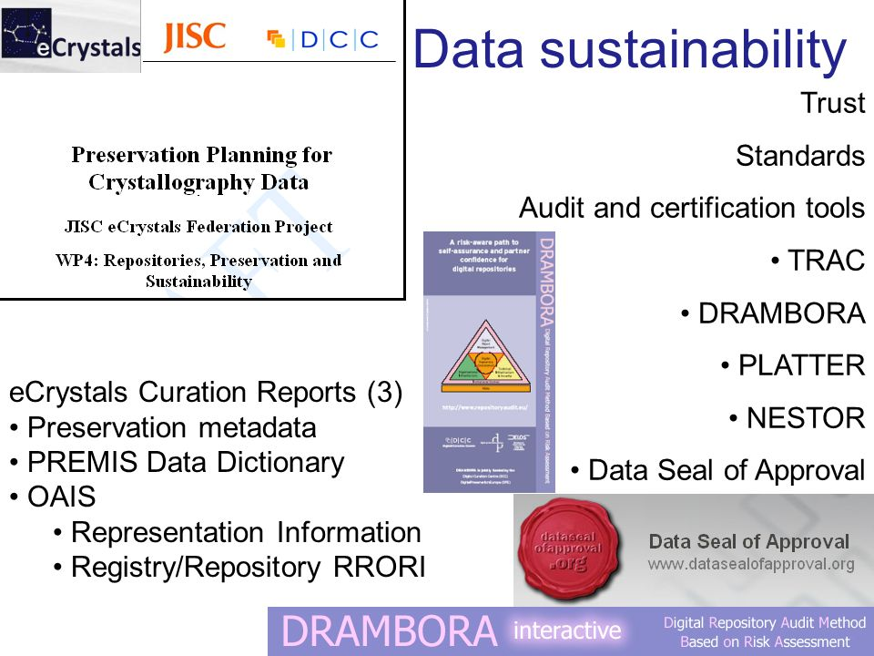 Trust Standards Audit and certification tools TRAC DRAMBORA PLATTER NESTOR Data Seal of Approval eCrystals Curation Reports (3) Preservation metadata PREMIS Data Dictionary OAIS Representation Information Registry/Repository RRORI Data sustainability
