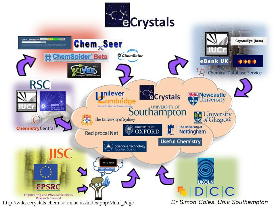 Dr Simon Coles, Univ Southampton http://wiki.ecrystals.chem.soton.ac.uk/index.php/Main_Page
