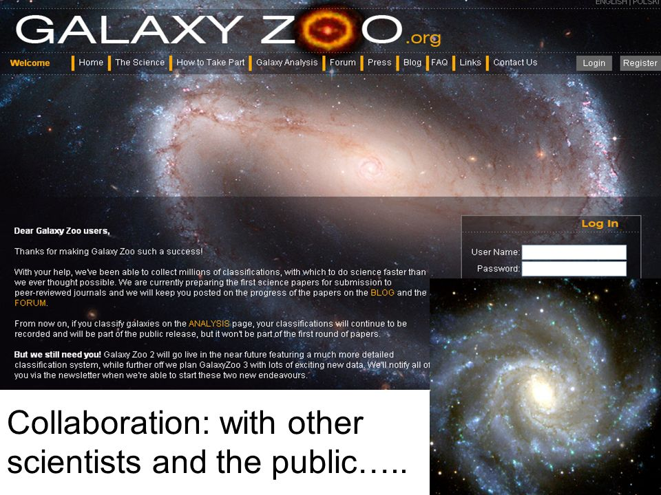Collaboration: with other scientists and the public…..