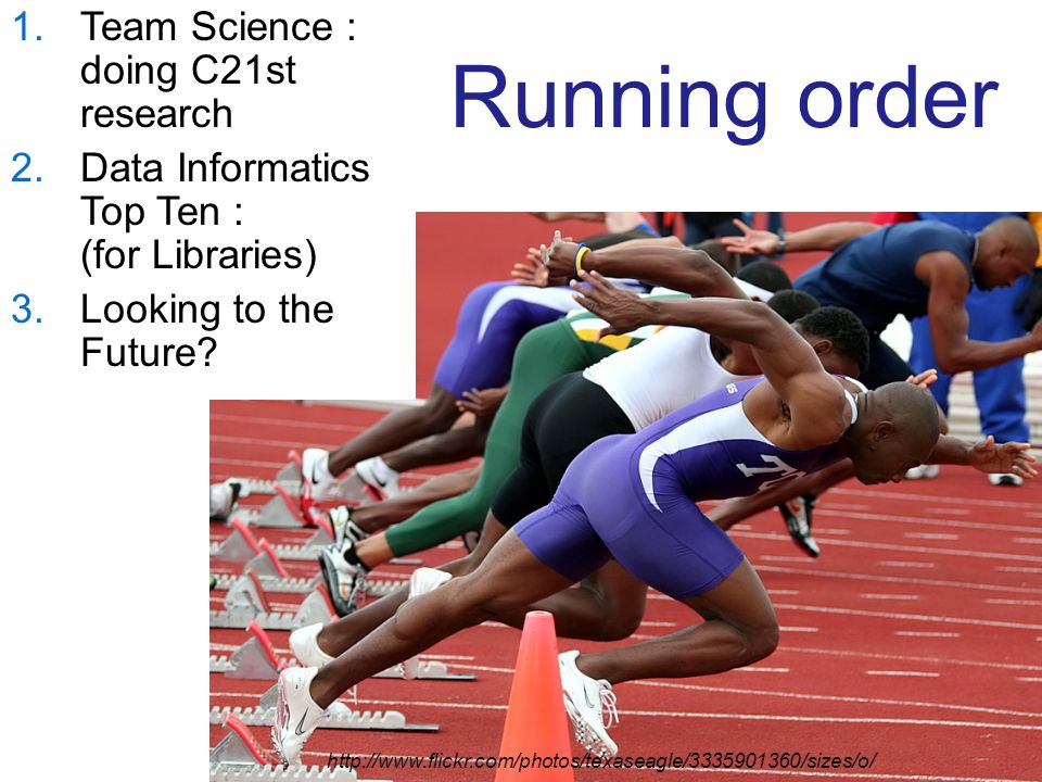 Running order 1.Team Science : doing C21st research 2.Data Informatics Top Ten : (for Libraries) 3.Looking to the Future.