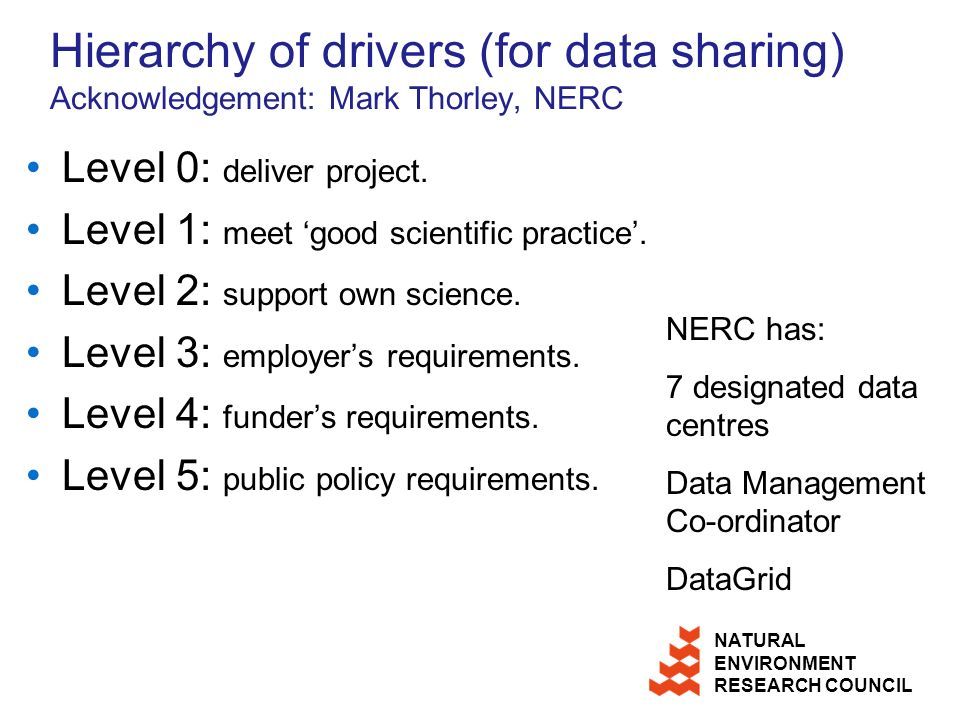 Hierarchy of drivers (for data sharing) Acknowledgement: Mark Thorley, NERC Level 0: deliver project.