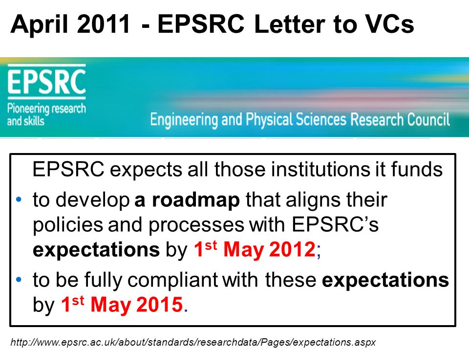 http://www.epsrc.ac.uk/about/standards/researchdata/Pages/expectations.aspx April 2011 - EPSRC Letter to VCs EPSRC expects all those institutions it funds to develop a roadmap that aligns their policies and processes with EPSRCs expectations by 1 st May 2012; to be fully compliant with these expectations by 1 st May 2015.