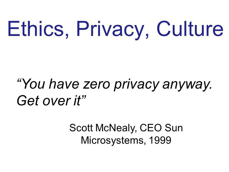 Ethics, Privacy, Culture You have zero privacy anyway. Get over it Scott McNealy, CEO Sun Microsystems, 1999