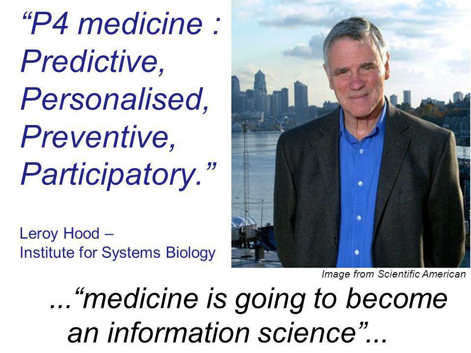 P4 medicine : Predictive, Personalised, Preventive, Participatory. Leroy Hood – Institute for Systems Biology Image from Scientific American...medicin