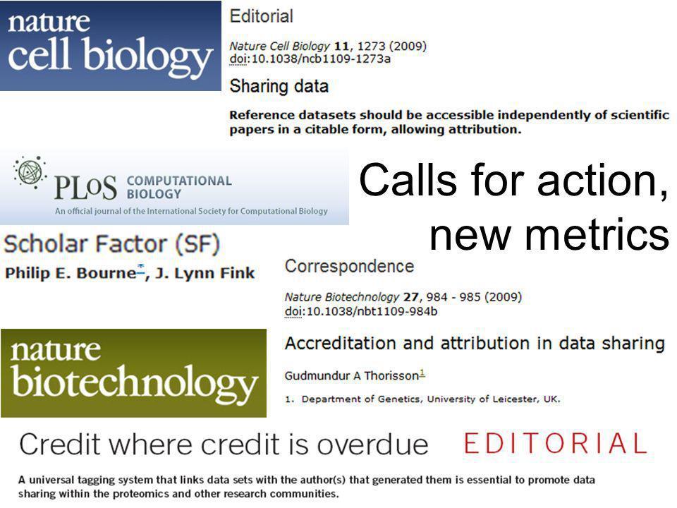 Calls for action, new metrics