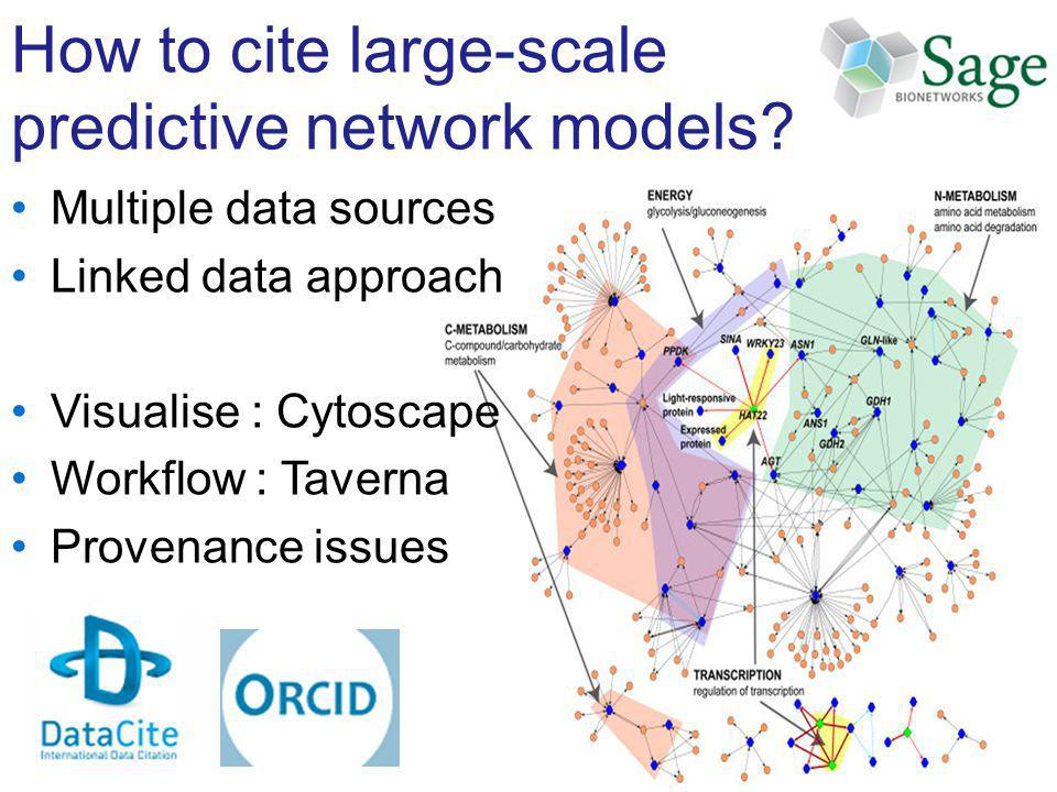 How to cite large-scale predictive network models? Multiple data sources Linked data approach Visualise : Cytoscape Workflow : Taverna Provenance issu