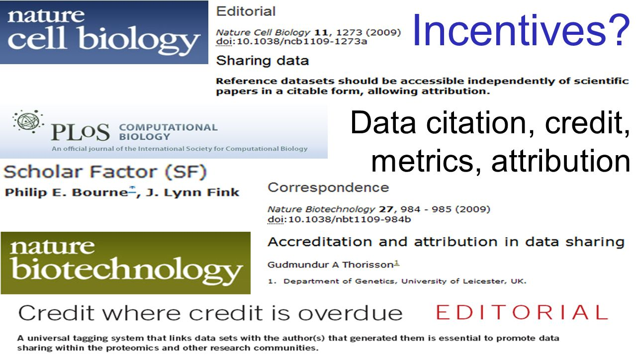Data citation, credit, metrics, attribution Incentives