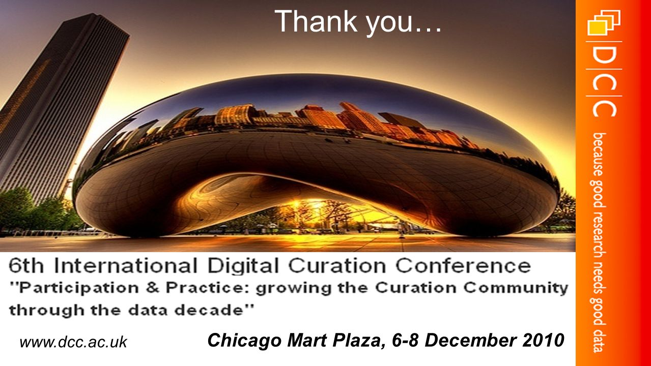 Chicago Mart Plaza, 6-8 December 2010 Thank you… www.dcc.ac.uk
