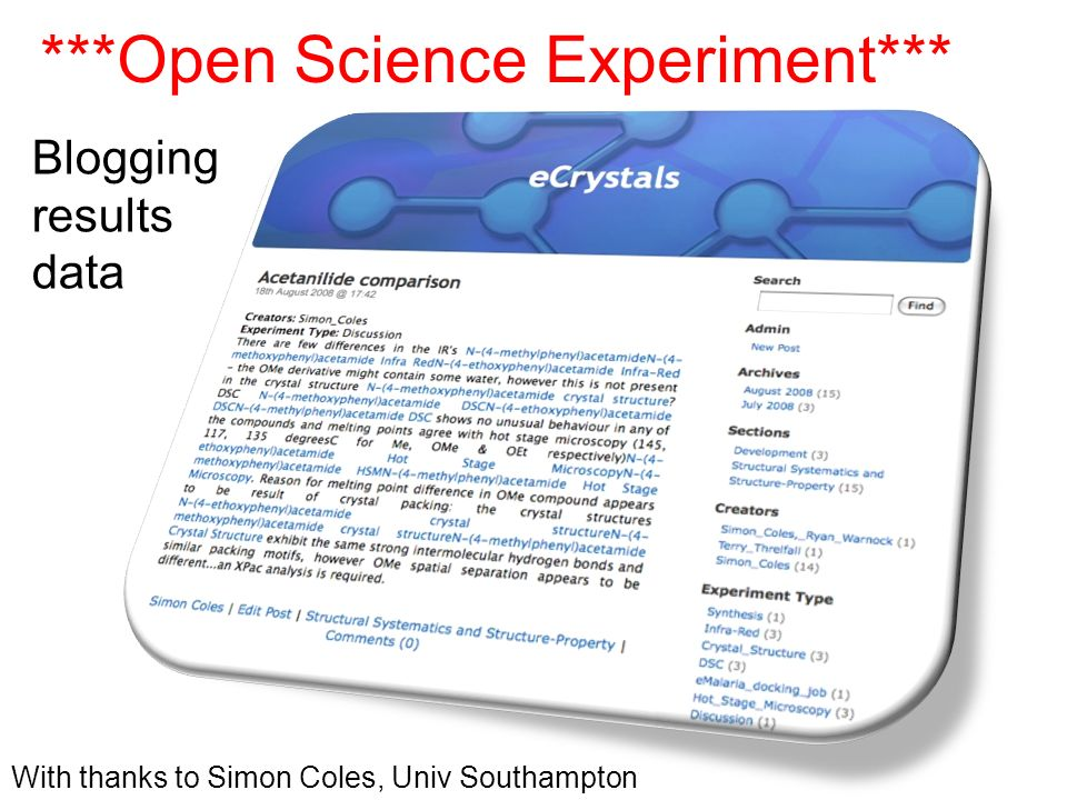 ***Open Science Experiment*** With thanks to Simon Coles, Univ Southampton Blogging results data