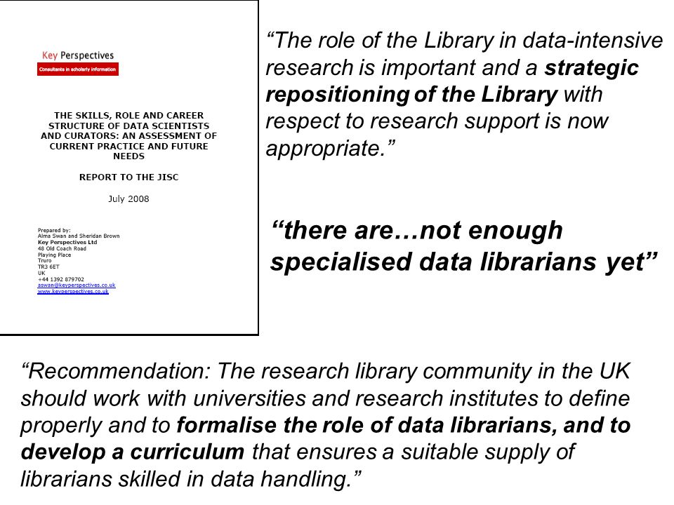 The role of the Library in data-intensive research is important and a strategic repositioning of the Library with respect to research support is now appropriate.