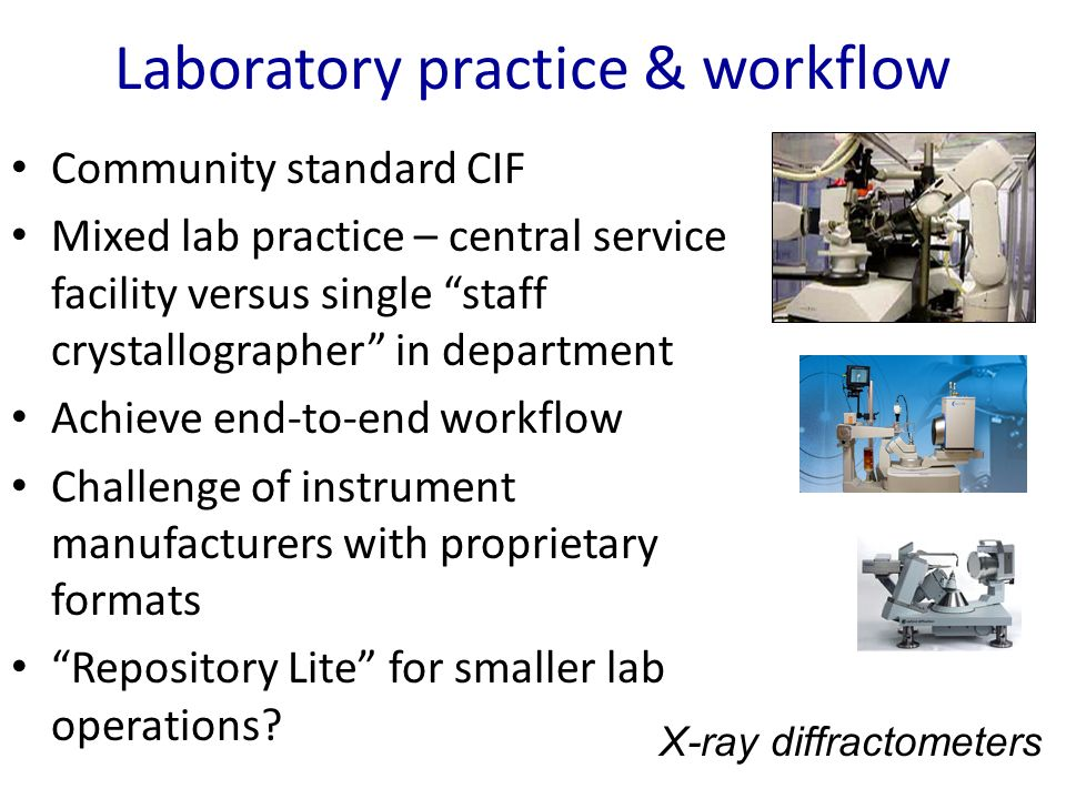 Laboratory practice & workflow Community standard CIF Mixed lab practice – central service facility versus single staff crystallographer in department Achieve end-to-end workflow Challenge of instrument manufacturers with proprietary formats Repository Lite for smaller lab operations.