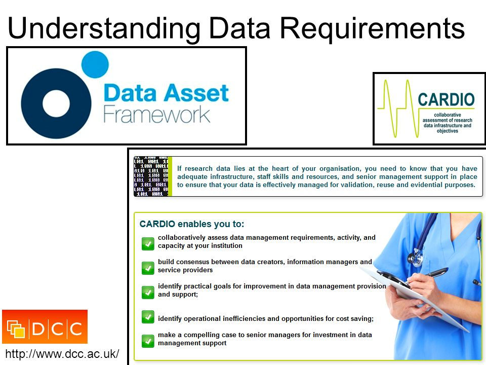 Understanding Data Requirements http://www.dcc.ac.uk/