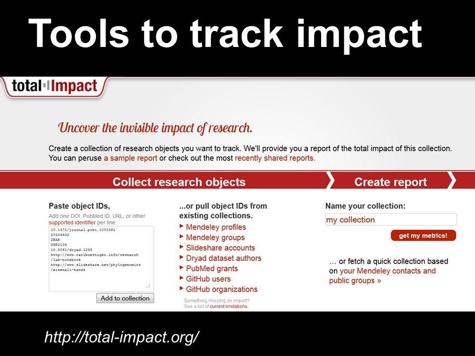 Tools to track impact http://total-impact.org/