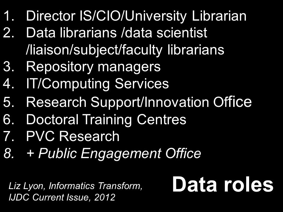 1.Director IS/CIO/University Librarian 2.Data librarians /data scientist /liaison/subject/faculty librarians 3.Repository managers 4.IT/Computing Services 5.Research Support/Innovation Of fice 6.Doctoral Training Centres 7.PVC Research 8.+ Public Engagement Office Data roles Liz Lyon, Informatics Transform, IJDC Current Issue, 2012
