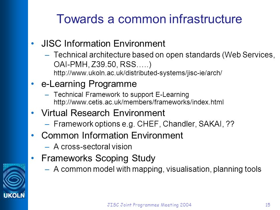 JISC Joint Programmes Meeting 200415 Towards a common infrastructure JISC Information Environment –Technical architecture based on open standards (Web Services, OAI-PMH, Z39.50, RSS…..) http://www.ukoln.ac.uk/distributed-systems/jisc-ie/arch/ e-Learning Programme –Technical Framework to support E-Learning http://www.cetis.ac.uk/members/frameworks/index.html Virtual Research Environment –Framework options e.g.