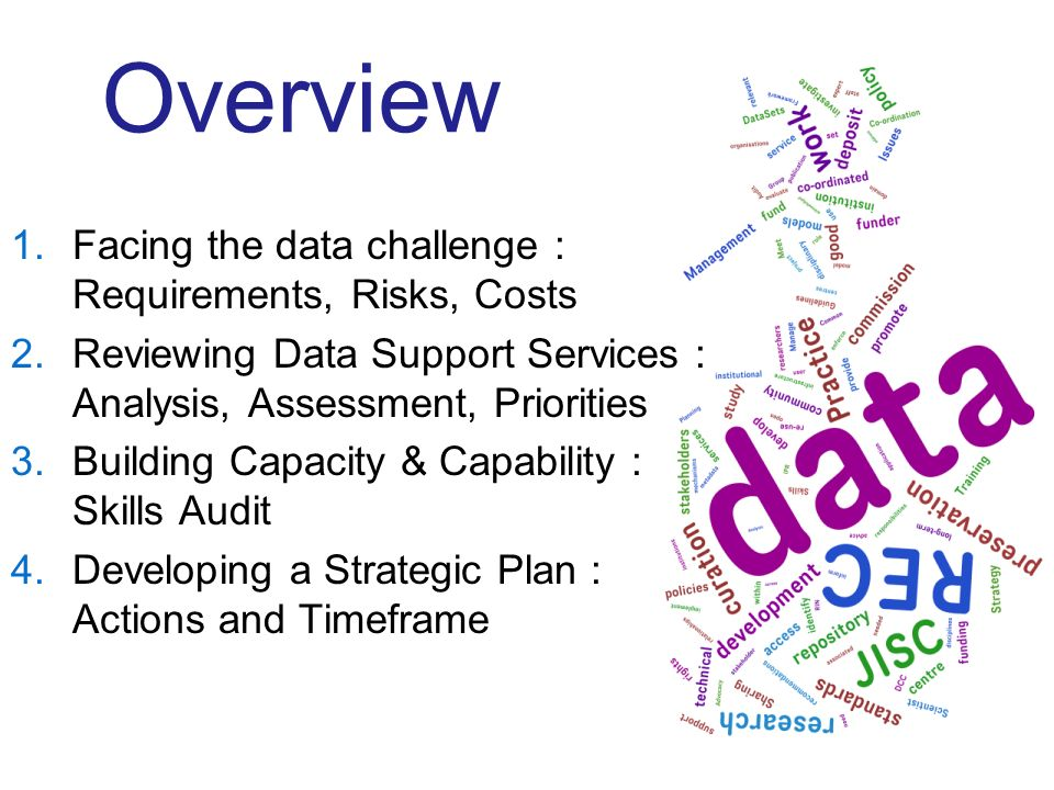 Overview 1.Facing the data challenge : Requirements, Risks, Costs 2.Reviewing Data Support Services : Analysis, Assessment, Priorities 3.Building Capa