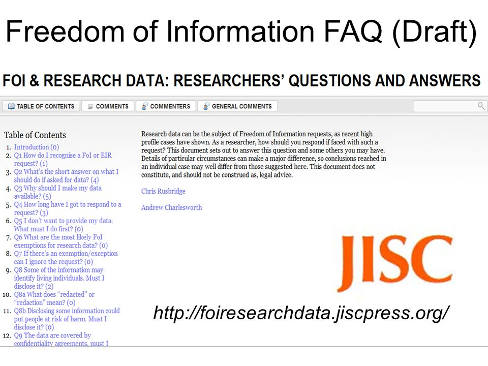 http://foiresearchdata.jiscpress.org/ Freedom of Information FAQ (Draft)
