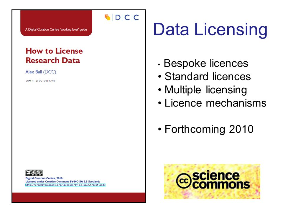 Data Licensing Bespoke licences Standard licences Multiple licensing Licence mechanisms Forthcoming 2010