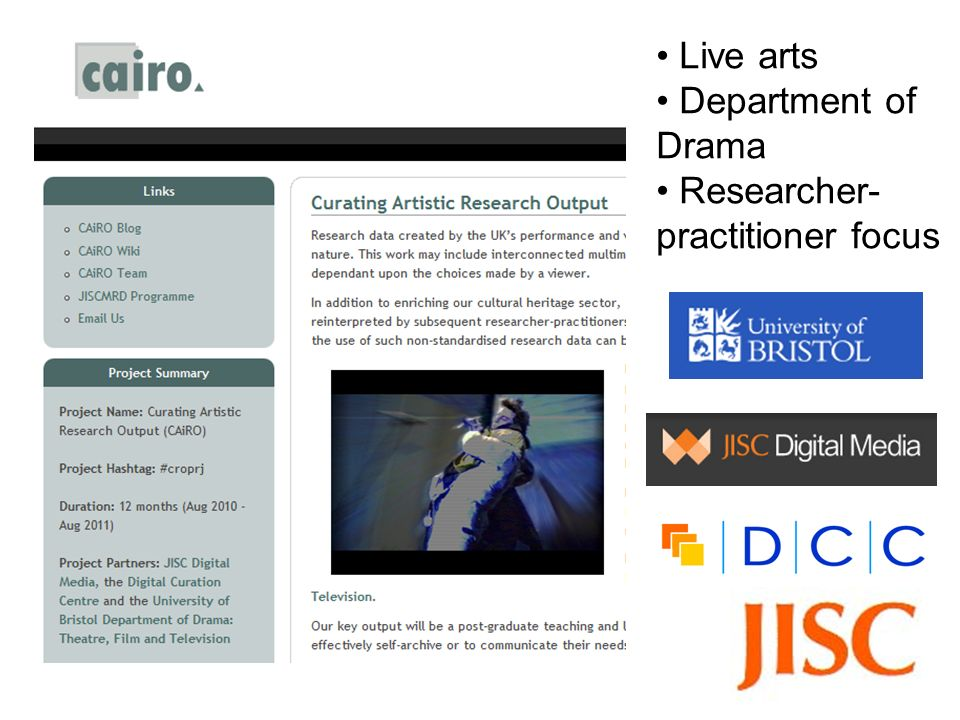 Live arts Department of Drama Researcher- practitioner focus